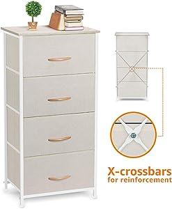 COSYLAND 4 Drawer Dresser Storage Tower, Fabric Organizer Unit Stable for Bedroom, Closet, Entryway, Hallway, Nursery Room Beige