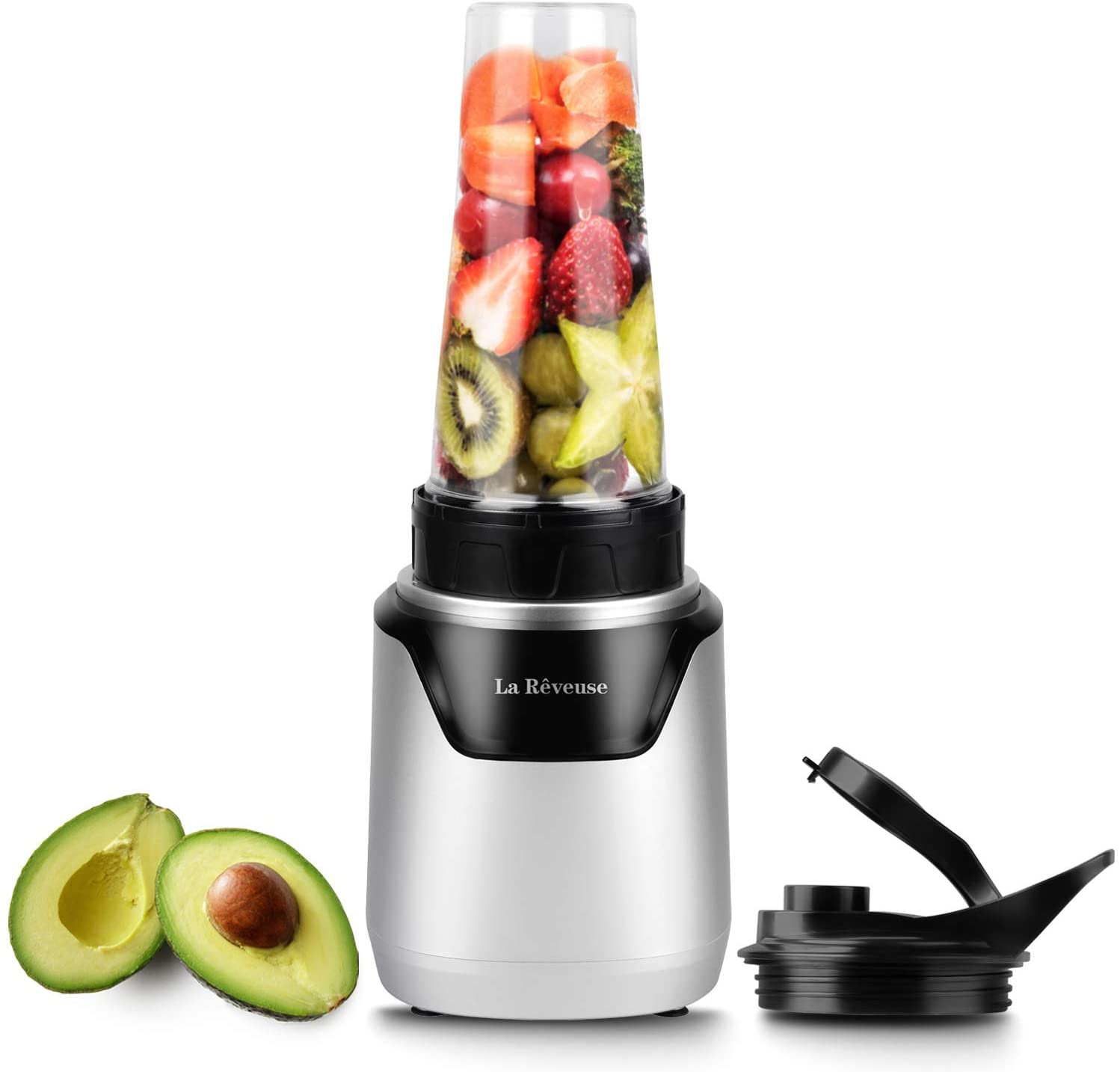 La Reveuse Personal Blender for Shakes and Smoothies 500 Watts with 18 oz BPA Free Portable Travel Bottle