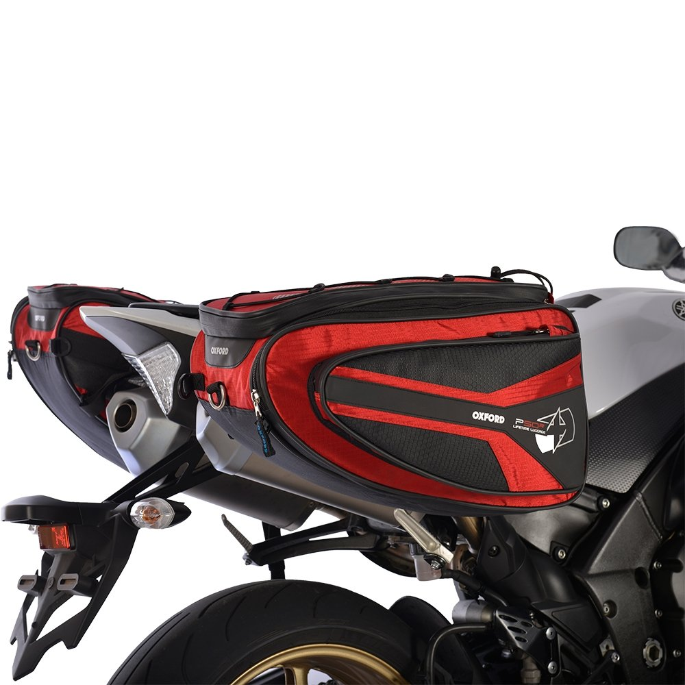 Oxford P50R 50 Litre Motorbike Luggage Motorcycle Panniers Set Red