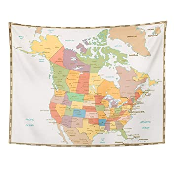 Map Of Canada North Of 60.Amazon Com Emvency Tapestry Wall Hanging America Retro Color