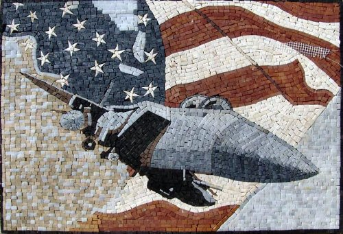 The American Flag Mosaic Marble Stone Art Hand Made