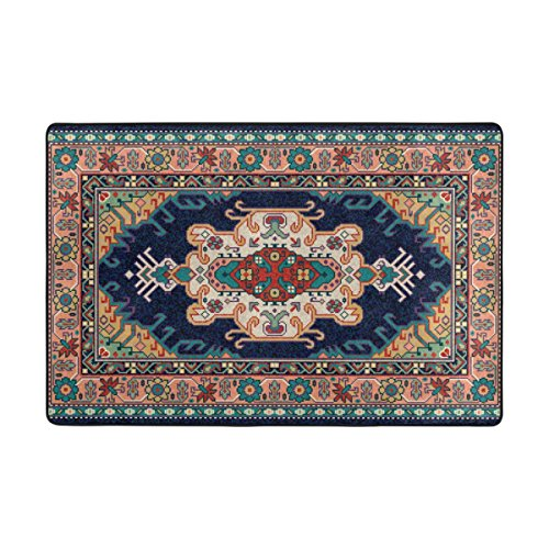 Cooper girl Colorful Oriental Mosaic Rug Floor Carpet Mat Polyester for Indoor Outdoor Decor 36x24 Inches