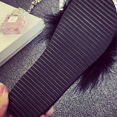 Woopower Donna Pelliccia Soffice Slip On Sandali Pantofole Cursori Di Piume Pantofole Scarpe Piatte Nere