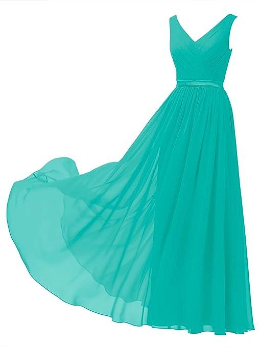 V-Neck Chiffon Bridesmaid Dress Long Party Prom Evening Dress