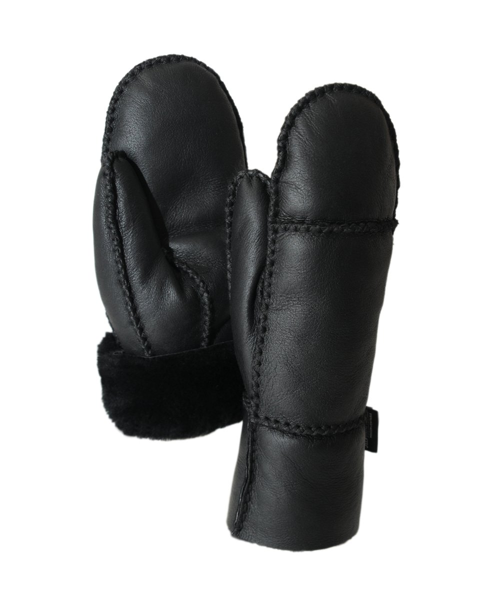 Ricardo B.H. Premium Leather, Genuine Sheepskin Mittens in Black for Women (XS/S)