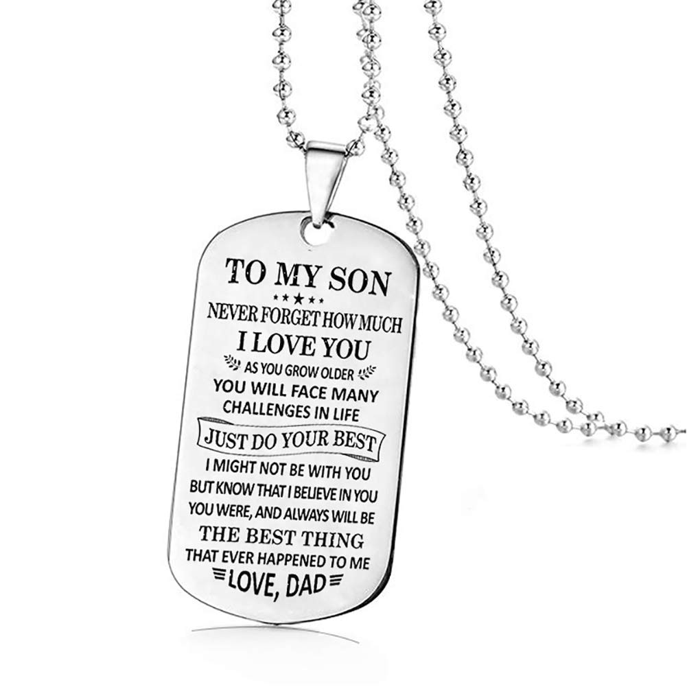 ywbtuechars Fashion Son Letter Tag Pendant Necklace Dad Mom Jewelry Birthday Graduate Gift