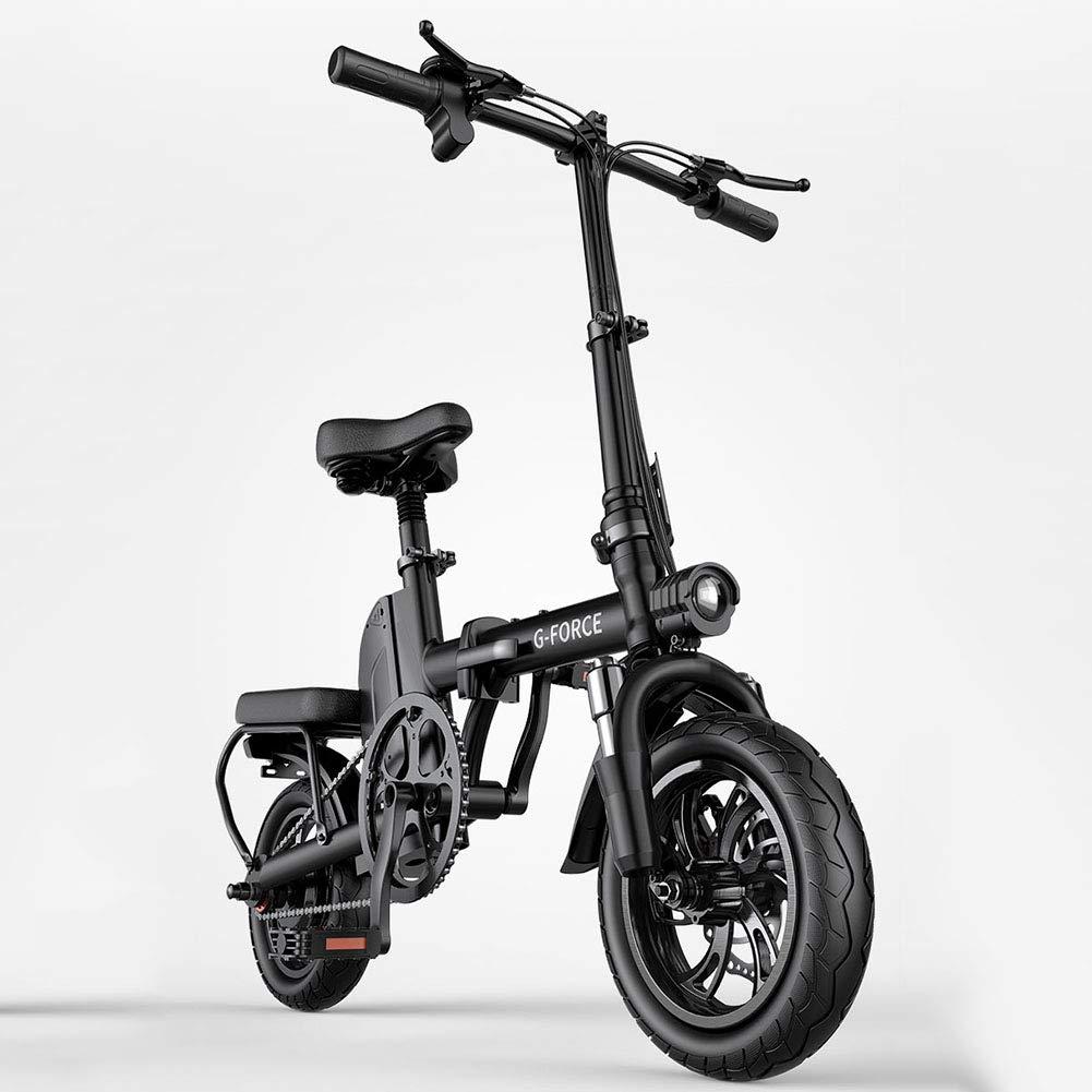 電動自転車12インチ折りたたみ式電動マウンテンバイク付き大人用48Vリチウムイオン電池E-バイク400W強力なモーター最高速度25 KM/H大人用女性男性,黒,20to35KM