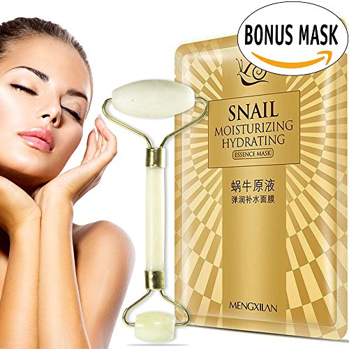 Rejuvenator Anti Aging Jade Roller Facial Massager PLUS Rich Snail Face Mask Regeneration Sheets Pure Natural Anti Wrinkle Deep Hydration Beauty Stone Therapy and Moisturizer for Dry Dull Skin (Dermal Therapy Moisturizer)
