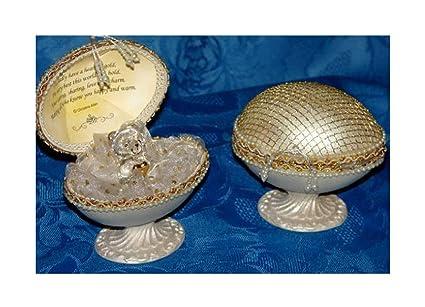 Personalizado regalo para abuela, cristal Teddy en 22 KT dorado huevo de oro de estilo