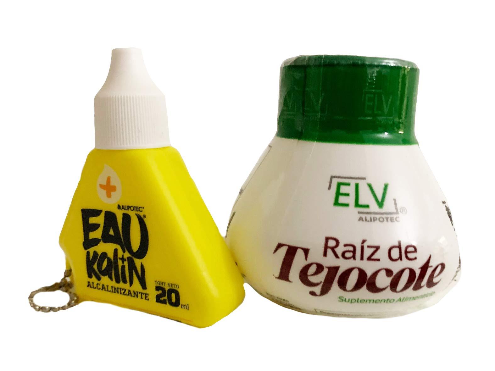 Alipotec Raiz de Tejocote Root Original Weight Loss Supplement from ELV, with Eau Kalin Alkaline Water Drops Combination 2 Pack