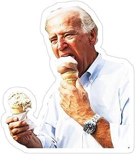 Printliza (3 PCs/Pack) Joe Biden Eating Icecream 3x4 Inch Die-Cut Stickers Decals for Laptop Window Car Bumper Helmet Water Bottle