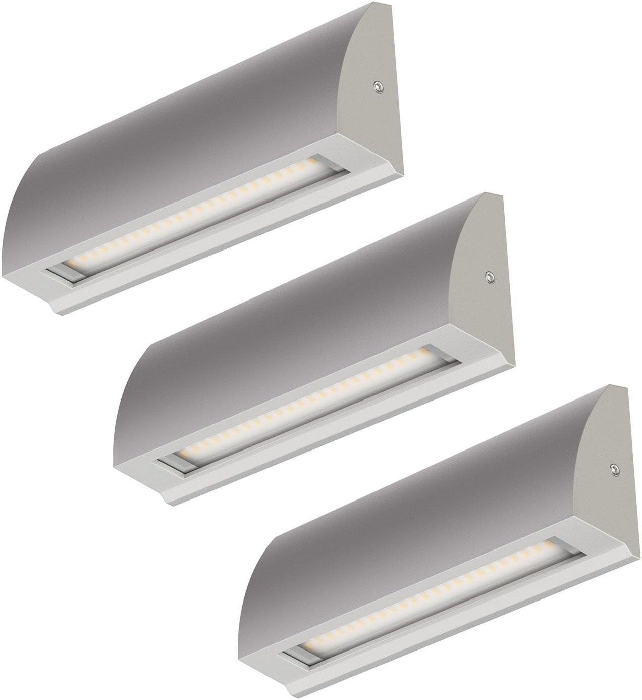 ledscom.de LED lámpara de pared Segin lámpara de escalera para interior y exterior, plano, Aufbau, silber-gris, blanca fría, 190lm: Amazon.es: Iluminación