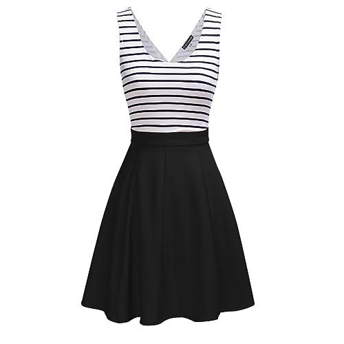 OMEYA WL Womens Open Back Sleevless Slim Cocktail Striped Casual Cute Mini Dress