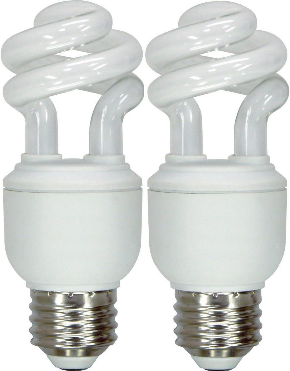 GE Lighting 74197 Energy Smart Spiral CFL 10-Watt (40-watt replacement) 520-Lumen T3 Spiral Light Bulb with Medium Base, 2-Pack