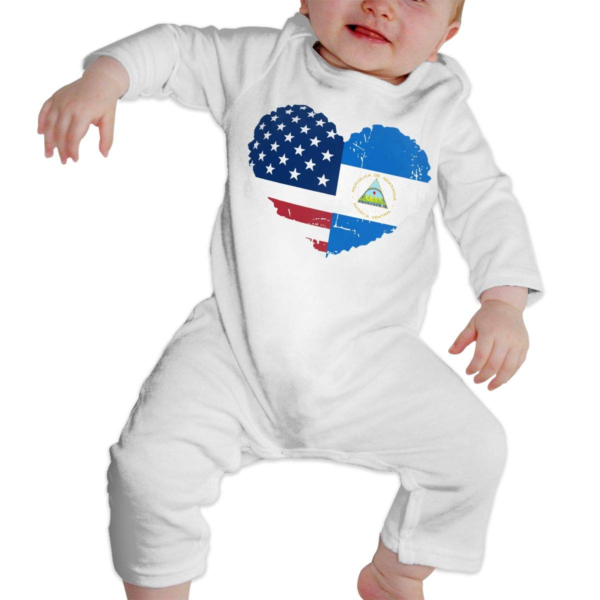 Mri-le1 Toddler Baby Boy Girl Long Sleeve Jumpsuit Nicaragua USA Flag Heart Baby Clothes