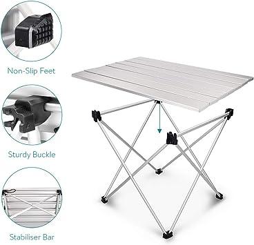 Tavolino Portatile Ripiegabile con Borsa da Trasporto 1,24kg da Esterno Spiaggia Giardino Campeggio Balcone Navaris Tavolo Pieghevole in Alluminio