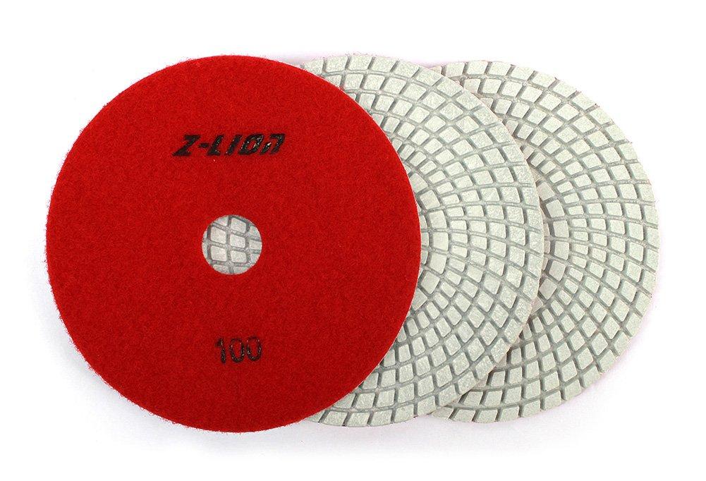 Z-Lion 5 Inch Diamond Polishing Pad Grit 100 Professional Grade for Marble Stone Sanding(3-PCS)