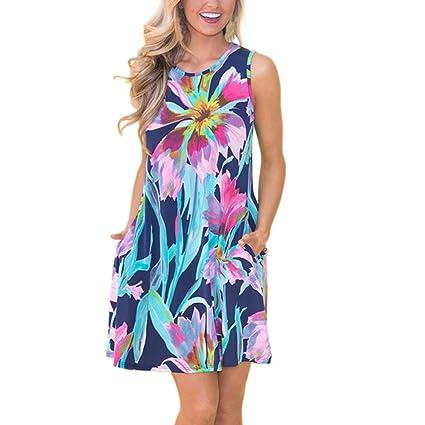 ab8abf6e1c52 Women Mini Dress with Pockets, Summer Sleeveless Floral Flare Short Shirt  Dress (Blue,