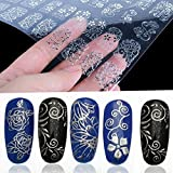 Warm Girl 108Pcs 3D Silver Flower Nail Art Stickers Decals Stamping DIY Decoration Tools
