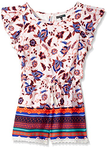 My Michelle Big Girls' Printed Romper with Flutter Sleeves, Multi, S (My Michelle Clothes)