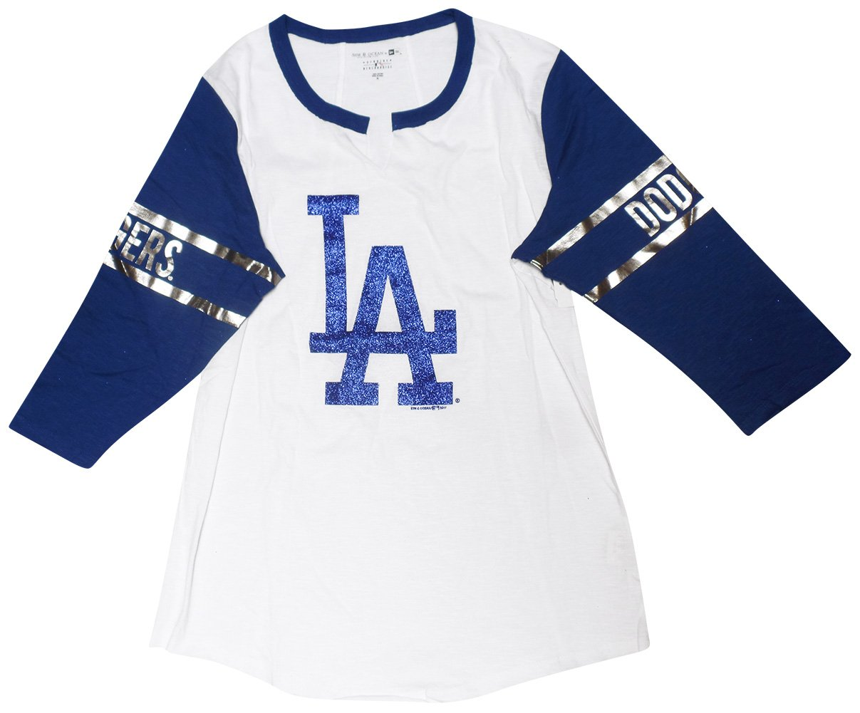 Amazon com : Los Angeles Dodgers Women's 3/4 Sleeve V-notch