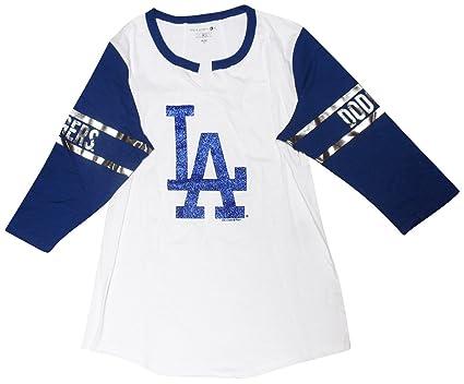 8f310ebe Amazon.com : Los Angeles Dodgers Women's 3/4 Sleeve V-notch Slub ...