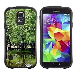 Suave TPU Caso Carcasa de Caucho Funda para Samsung Galaxy S5 SM-G900 / Nature Beautiful Forrest Green 94 / STRONG