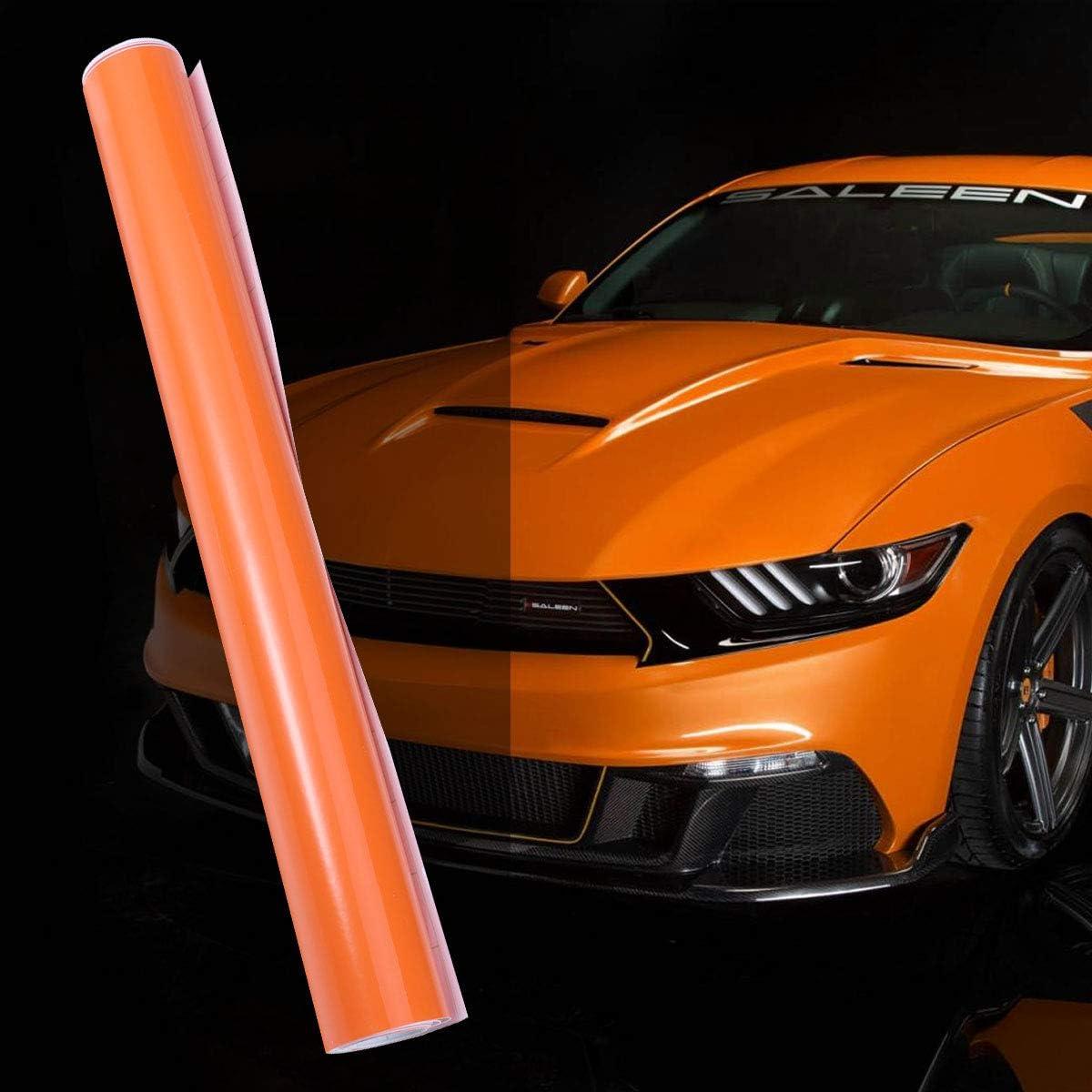 Vosarea Vinilo Adhesivo PVC para Coche Decoración Auto Vehículo Vinilo Traslucido de Coche Naranja Brillante 30x152CM: Amazon.es: Coche y moto