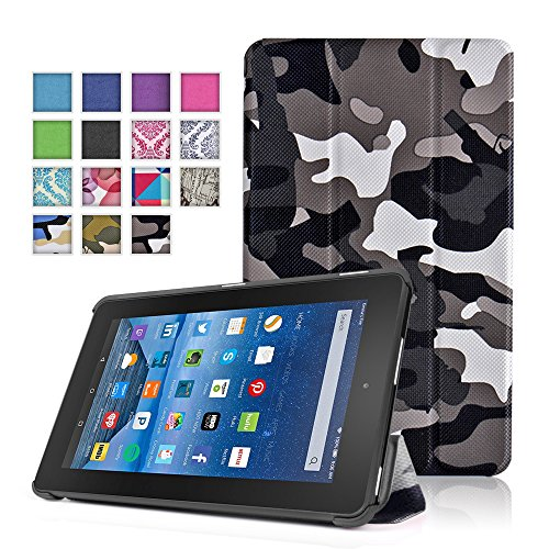 TNP New Fire 7 Case (Camouflage Black & Gray) - Ultra Slim Lightweight Folding Folio Cover Stand with Hard Rubberized Back for Amazon New Fire 7 Inch (5th Generation) 2015 Release Tablet