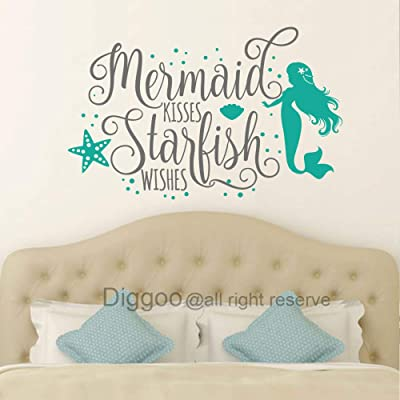 "Diggoo Wall Decal Mermaid Kisses Starfish Wishes Wall Quote Girls Bedroom Decor Mermaid Wall Art Nautical Nursery Decor (Gray + Teal,25"" h x 40"" w): Home & Kitchen"