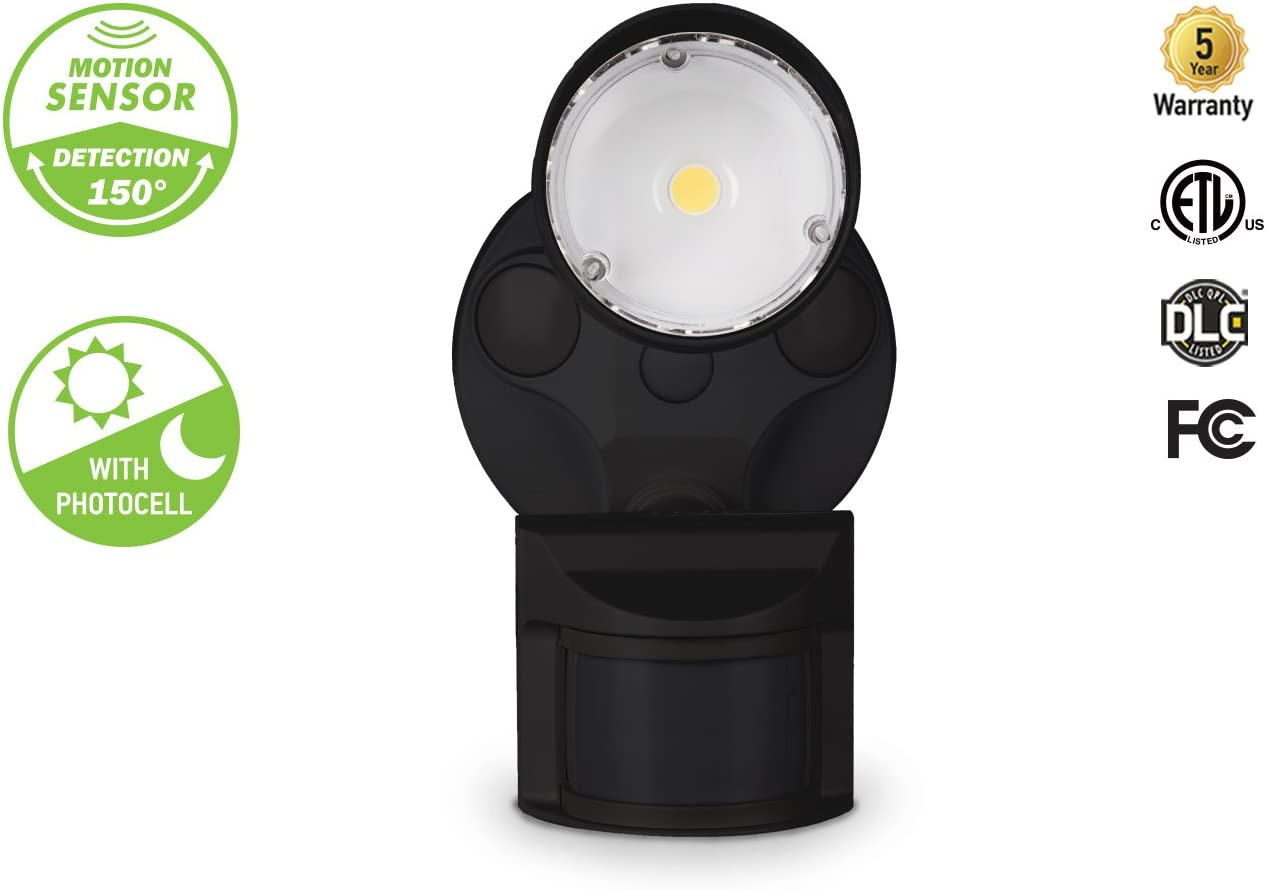 ASD LED Outdoor Flood Security Light with Motion Sensor, 10W, 1 Head, Black, Motion Light, 5000K