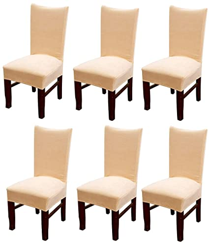 Outstanding Mocaa Velvet Stretch Dining Room Chair Covers Thick Soft Removable Dining Chair Slipcovers Set Of 6 M008 Beige Machost Co Dining Chair Design Ideas Machostcouk