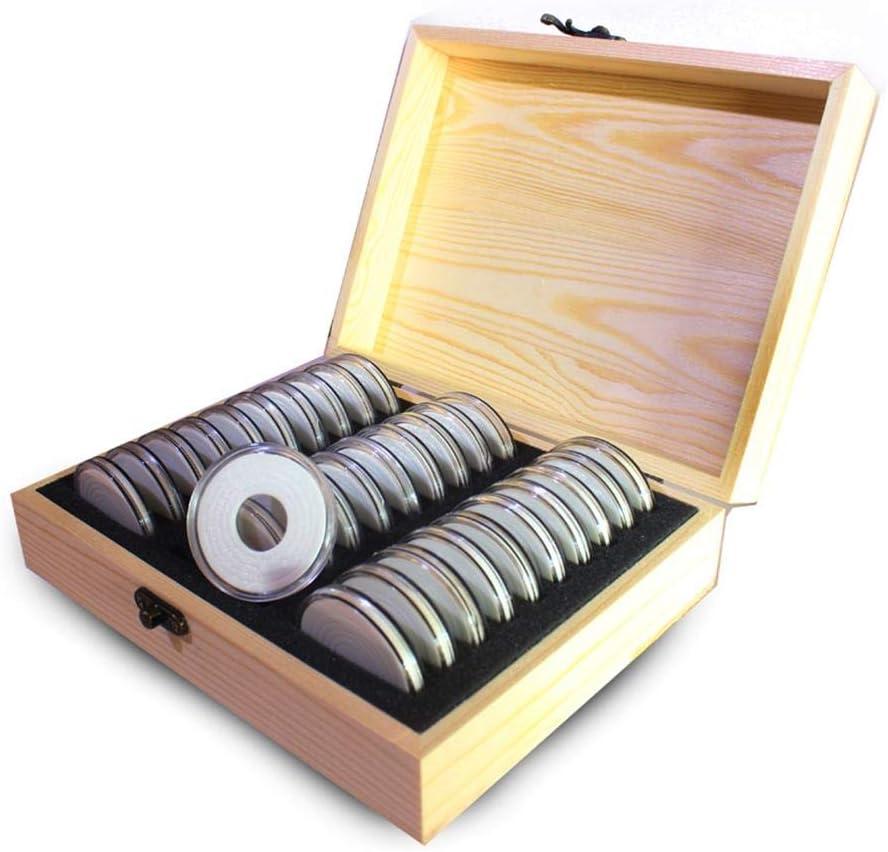 40mm Universal dewdropy M/ünzen-Kassette Holz 30 Raster M/ünzsammel-Holzkiste M/ünz-Aufbewahrungsbox Sammelbox 20//25//30//35