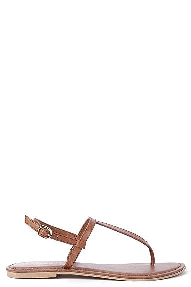 Damen Boutique Lara Schlichte Flip-Flop-Sandalen mit Leder - Bräunen - 5 BHfDt9FR