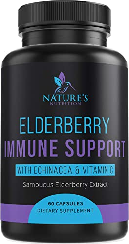 Immune Support Supplement with Elderberry, Vitamin C, Zinc, and Echinacea 1120 mg - Extra Strength Sambucus Nigra Pills - Made in USA - Best Daily Vitamin with Turmeric and Probiotics - 60 Capsules