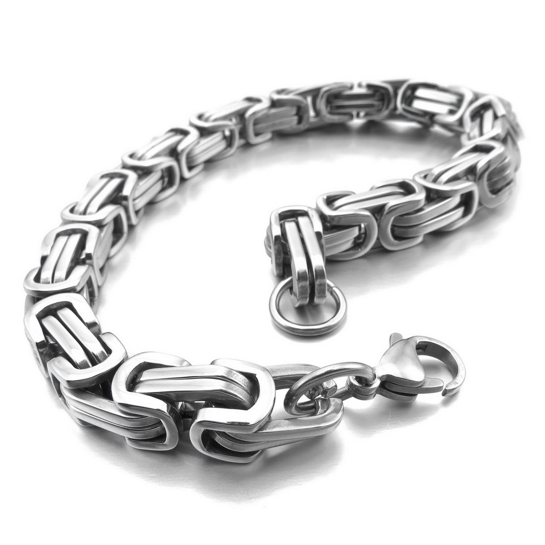 INBLUE Men's 8mm Stainless Steel Bracelet Wrist Link Silver Tone Byzantine 8 8.5 9 INBLUE Jewelry mnc616-8