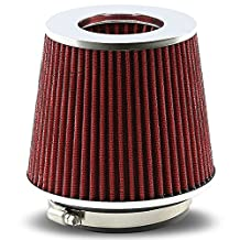"Universal Clamp-On Cotton Gauze Round Air Intake Filter+Reducer Hose for 3-4"" Inlet (Red)"