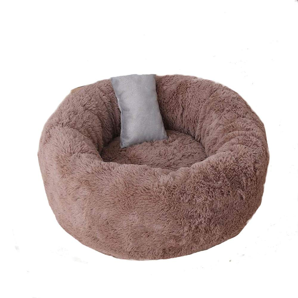 Brown L Brown L Enjelwang Shaggy Faux Fur Donut Cuddler Dog Bed House Cushion Small Medium Large Pets Soft Washable Cat Litter Cage Kennel