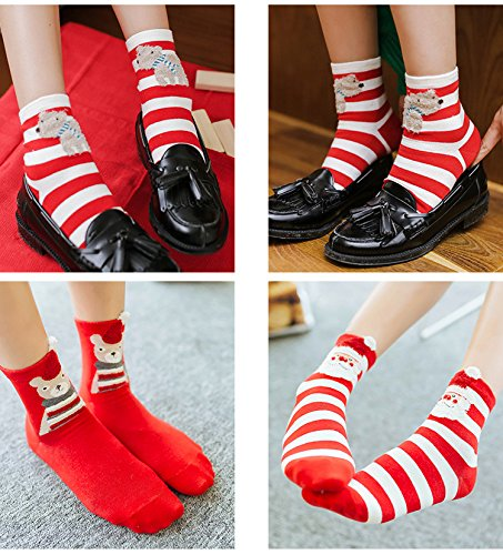 Generic [4 pairs] Ms. autumn and winter cotton socks Christmas gift socks animal year red socks New Year