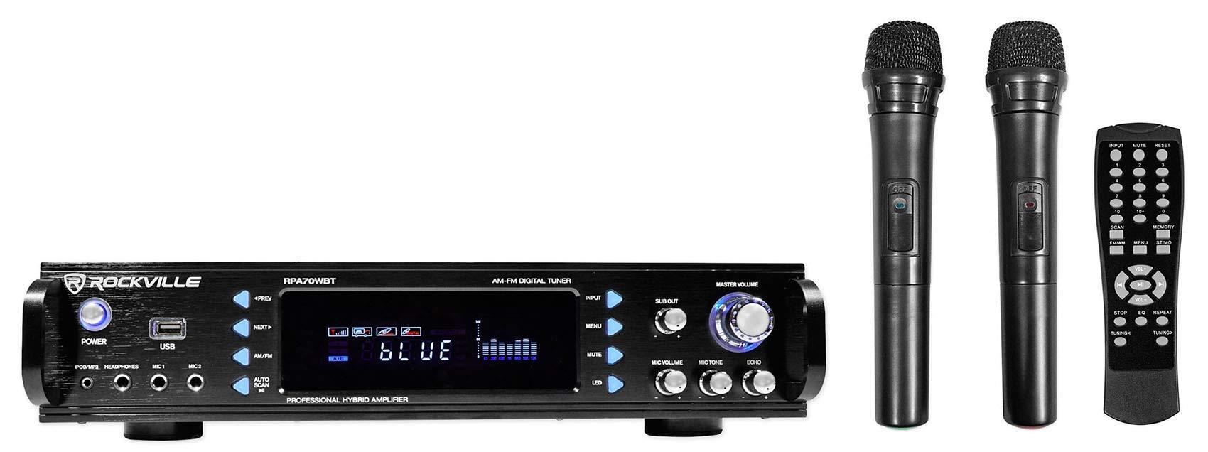 Rockville RPA70WBT 1000w 2-Ch USB Bluetooth Pro/Karaoke Amplifier/Mixer+(2) Mics, Black ( by Rockville