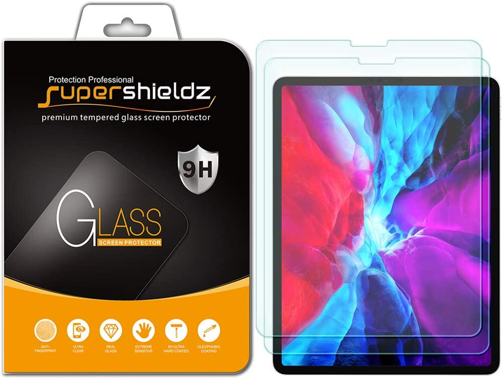 (2 Pack) Supershieldz for Apple iPad Pro 12.9 inch (2020 and 2018 Model, 4th/3rd Generation) Screen Protector, (Tempered Glass) 0.33mm, Anti Scratch, Bubble Free (Updated Version)