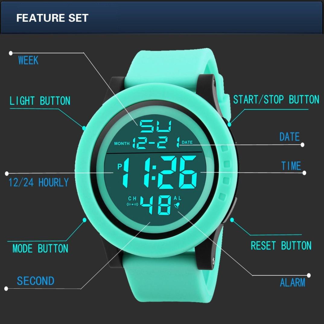 Amazon.com: Ikevan HONHX Digital Sports Watch--Fashion Mens LED Waterproof Digital Quartz Military Luxury Sport Date Watches (Green): Watches