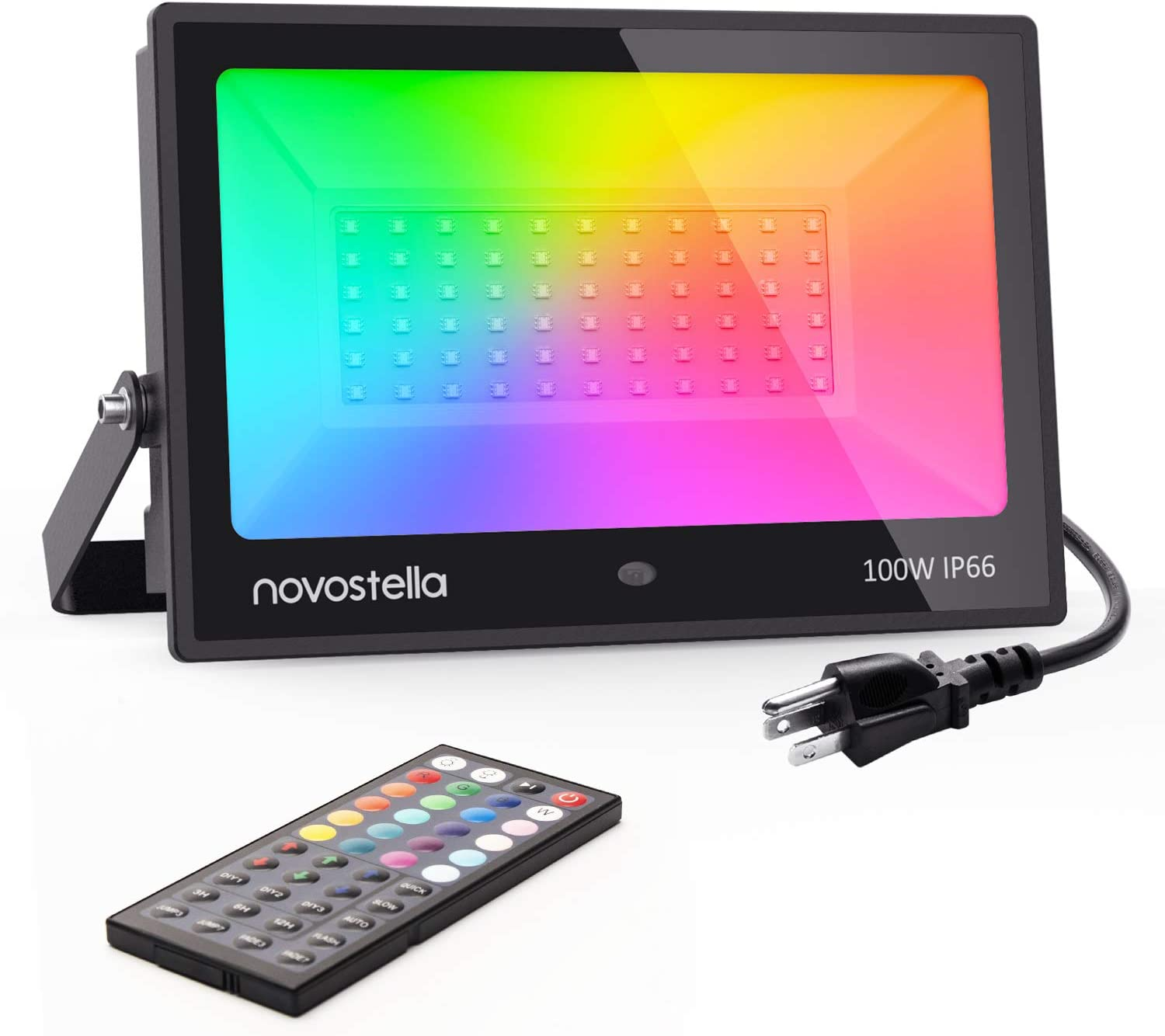 Novostella 100W RGB LED Flood Light, 44 Keys Controller, 20 Colors 6 Modes, Dimmable Color Changing Floodlight, IP66 Waterproof, Wall Washer Lights, Outdoor Garden Stage Landscape Lighting