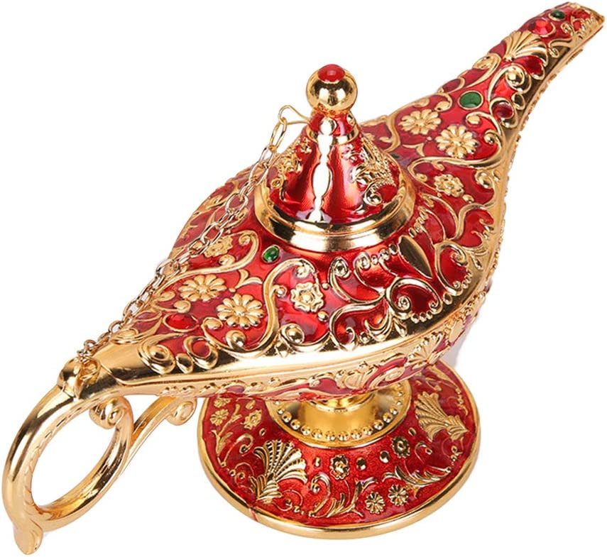 WEISIPU Aladdin Magic Genie Lamps - Vintage Incense Burners Magic Genie Light Lamp for Home Table Decoration/Party/Halloween/Birthday (Gold-Red)