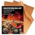 Grill Mat Set of 3 Non-Stick BBQ Grill Mats by YIHONG, 0.4mm Extra Thick Heavy Duty Barbecue Grilling Mat, Reusable and Easy to Clean, Works on Gas, Charcoal, Electric Grills, Copper Color
