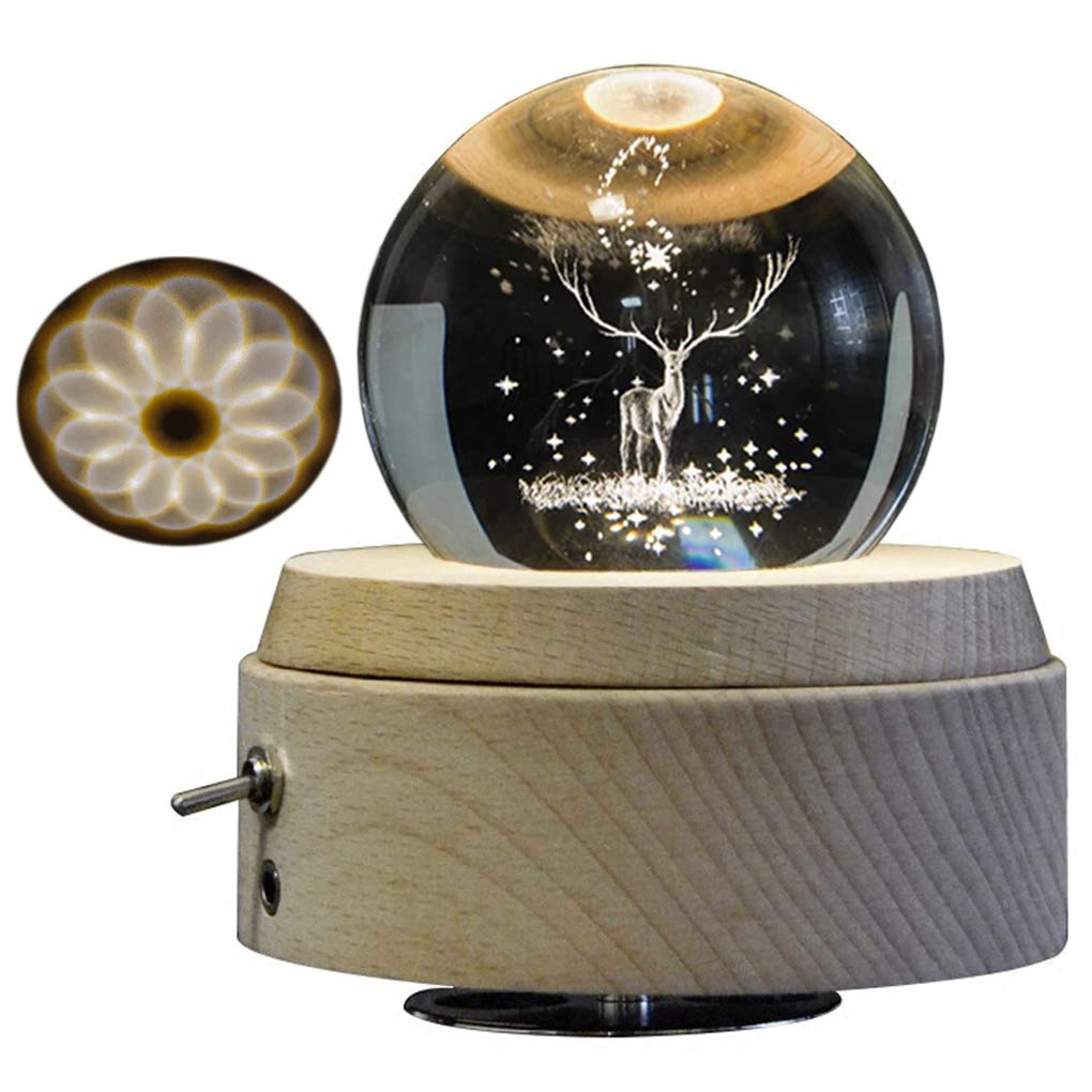 Amperer 3D Crystal Ball Music Box The Dear Luminous Rotating Musical Box with Projection LED Light and Wood Base Best Gift for Birthday Christmas (2# Deer)