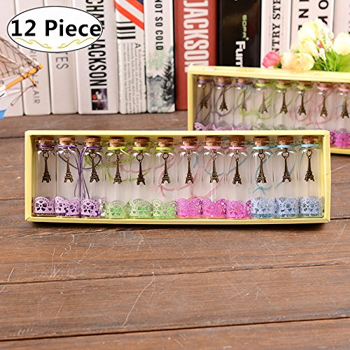 Carnatory 12 Piece/Set Clear Transparent Vintage Retro Wishing Bottles, Mini Glass Jars with Cork Stoppers and Antique Bronze Metal Iron Tower Pendants Inside for Birthday Gift Wedding Party Favors