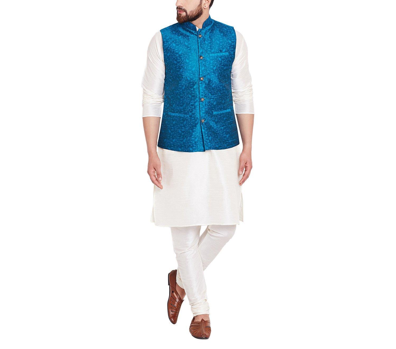 Sojanya Men's Jacquard Silk Nehru Jacket XX-Large Sea Green