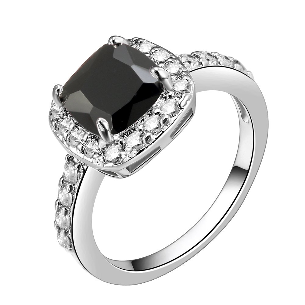 Impression Collection Square Rings Wedding Party Statement CZ Cocktails Gold Plated Classic Fashion Size 5-10 (Black, 12)