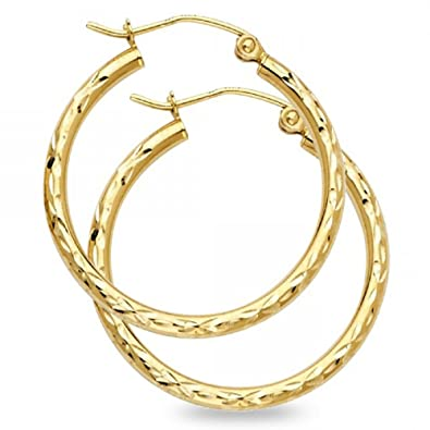 d20bd631e1071 Solid 14k Yellow Gold Round Hoop Earrings Diamond Cut Polished Design  French Lock Fancy (Size Options)